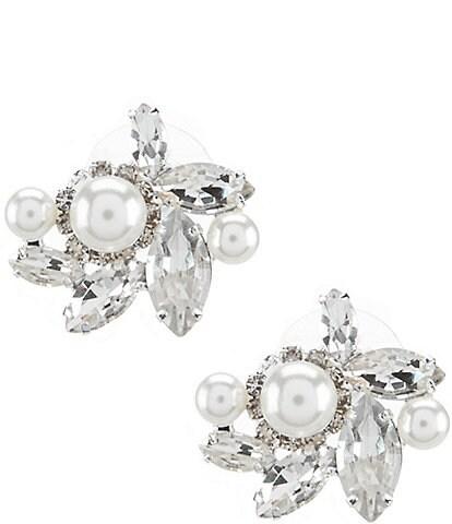 Cezanne Rhinestone & Faux-Pearl Cluster Statement Earrings