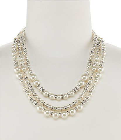 Cezanne Triple-Row Mixed Faux-Pearl Statement Necklace