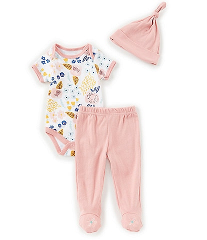 Chick Pea Baby Girls Newborn-9 Months Floral Bodysuit, Footed Pants & Hat Set