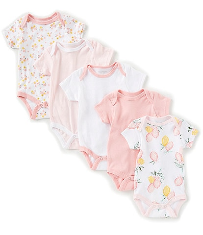 Chick Pea Baby Girls Newborn-9 Months Lemon-Print/Floral/Solid Bodysuit 5-Pack