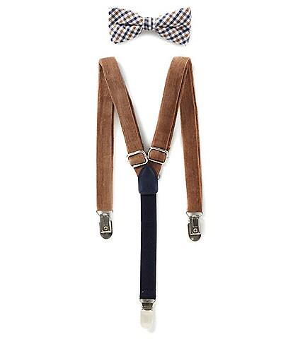 Class Club Boys Plaid Bow Tie & Cord Suspenders Set