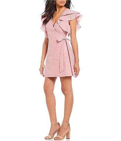 C/MEO Petition Ruffle Sleeve Stripe Tie Waist Wrap Dress