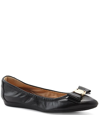 Cole Haan Tali Bow Detail Leather Ballet Flats