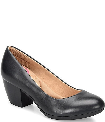 Comfortiva Amora Leather Block Heel Pumps