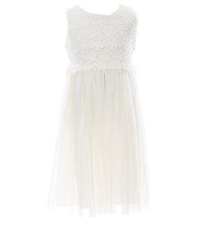 Popatu Little/Big Girls 2-8 Lace/Tulle Tie-Back Dress