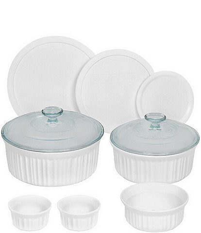 CorningWare French White 10-Piece Round Fluted Oven-to-Table Bakeware Set