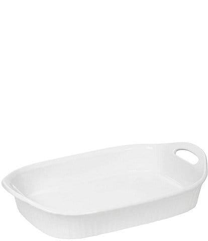 CorningWare French White III Oblong Ceramic Handled Casserole