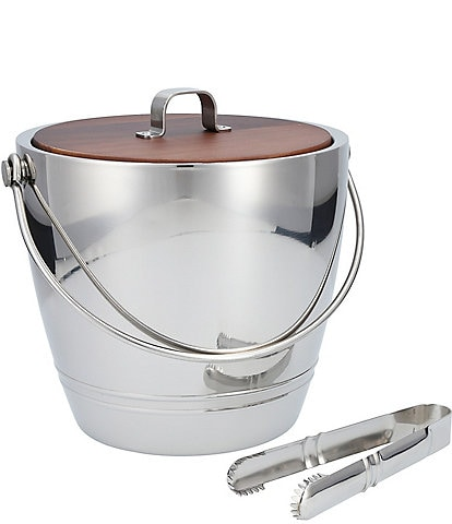 Crafthouse by Fortessa Stainless Steel Round Ice Bucket with Wood Lid and Tongs