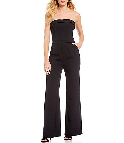 Cupcakes & Cashmere Carrisa Strapless Wide Leg Crepe Jumpsuit