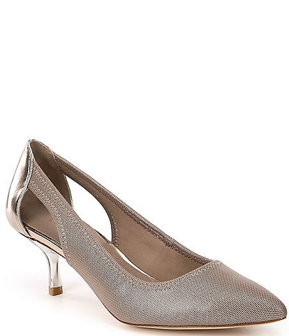 Donald Pliner Gaio Stretch Mesh Side Cut Out Pointed Toe Pumps