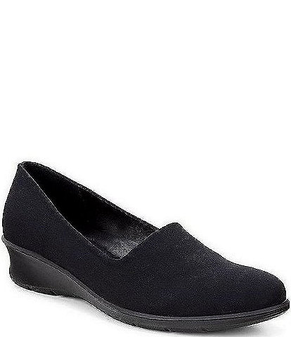 ECCO Felicia Stretch Leather and Textile Slip Ons