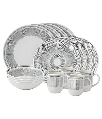 ED Ellen DeGeneres Crafted by Royal Doulton 16-Piece Grey Lines Collection Dinnerware Set