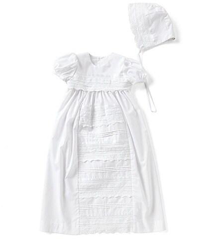 Edgehill Collection Baby Girls Newborn-12 Months Lace Christening Gown & Matching Bonnet Set