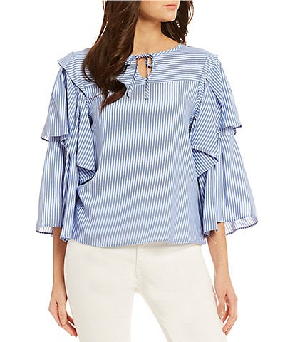 Ella Moss Carly Ruffle Stripe Tier Sleeve Top