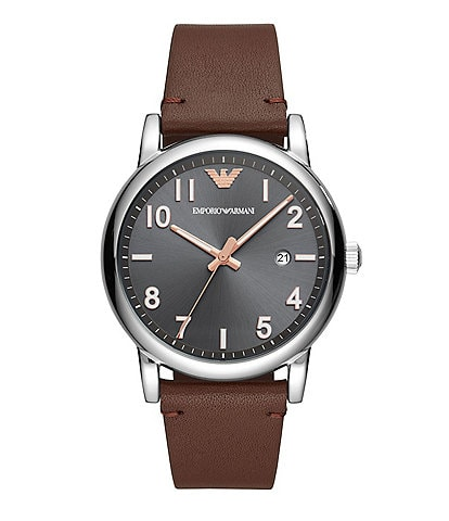 Emporio Armani Luigi 43mm Brown Leather Strap Watch