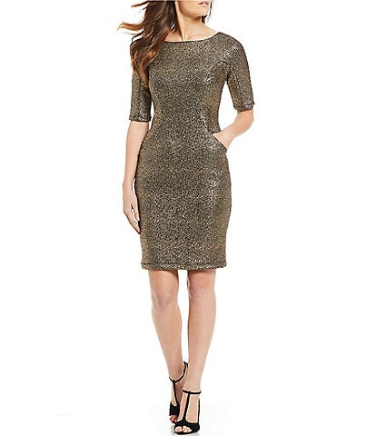 Eva Franco Stretch Metallic Sheath Dress