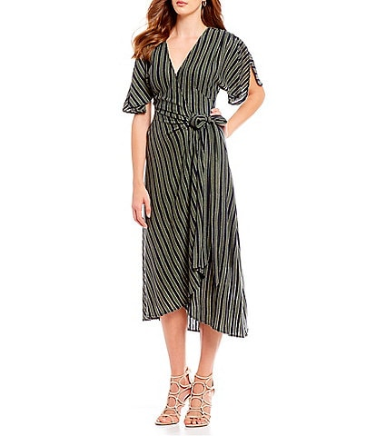 Eva Franco Stripe Hi-Low Wrap Style Midi Dress