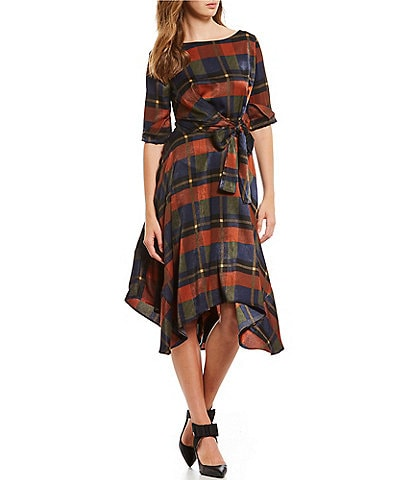 Eva Franco Tie Waist Plaid Asymmetrical A-Line Midi Dress