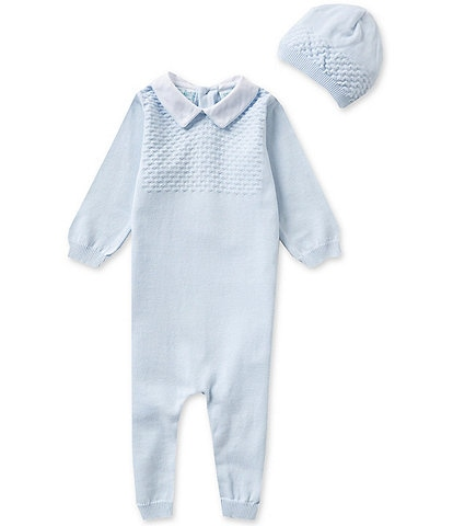 Feltman Brothers Baby Boys Newborn-9 Months Knit Coverall and Hat Set