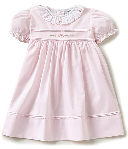 Friedknit Creations Baby Girls 12-24 Months Ruffled Scallop Rose Embroidered Smocked Dress
