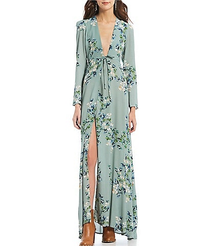 Flynn Skye Kate Floral Printed Maxi Wrap Dress