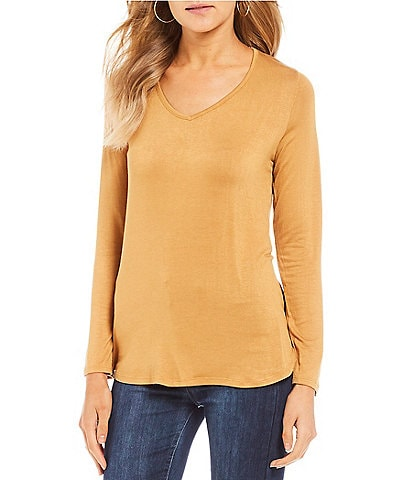 Fornia Long Sleeve Basic V-Neck Tee