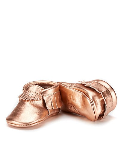 Freshly Picked Girls' Metallic Leather Fringe Soft Soled Moccasin Crib Shoe