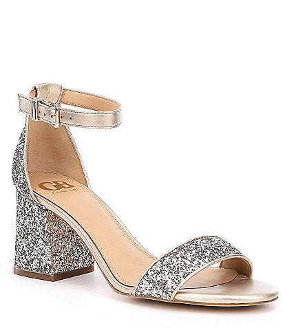 GB Block-Party Banded Glitter Ankle Strap Block Heel Dress Sandals