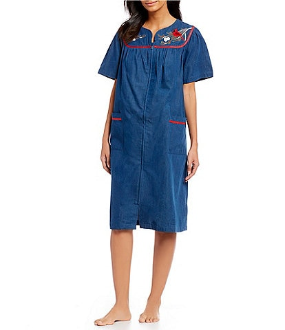 Go Softly Patio Embroidered Denim Zip-Front Patio Dress