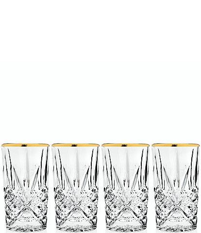 Godinger Dublin 4-Piece Handcrafted Gold-Rimmed Crystal Highball Glass Set