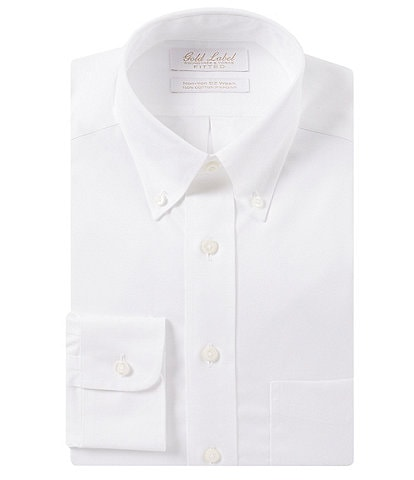 Gold Label Roundtree & Yorke Non-Iron Fitted Button-Down Collar Classic Solid Dress Shirt