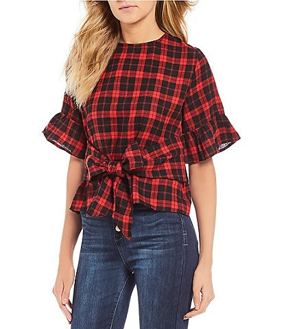 Good Luck Gem Tie Front Bow Plaid Top