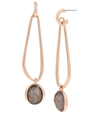 H Halston Sculptural Link & Stone Drop Earrings