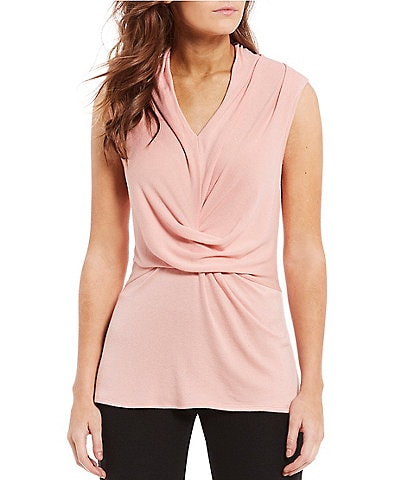 H Halston Sleevless Draped Front Top