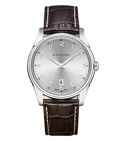 Hamilton Jazzmaster Thinline Analog & Date Leather-Strap Watch