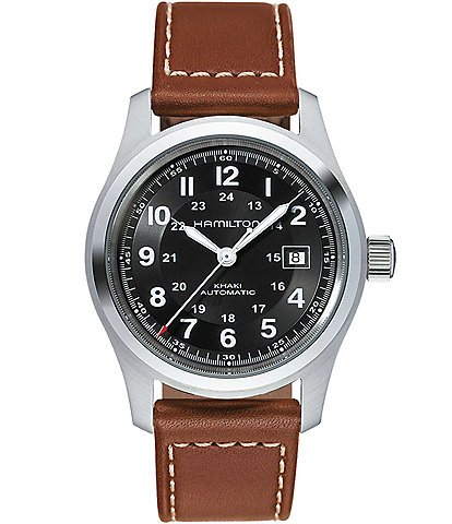 Hamilton Khaki Field Automatic Brown Leather-Strap Watch
