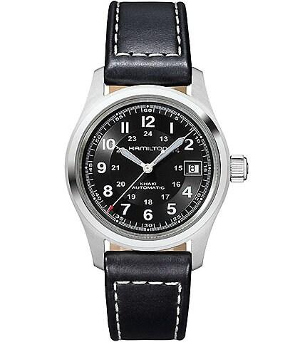 Hamilton Khaki Field Automatic Black Leather-Strap Watch