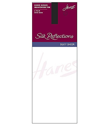 Hanes Silk Reflections Reinforced-Toe Knee Highs 2-Pack
