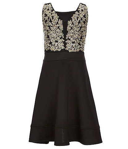 Honey and Rosie Big Girls 7-16 Metallic Embroidered Fit-And-Flare Dress