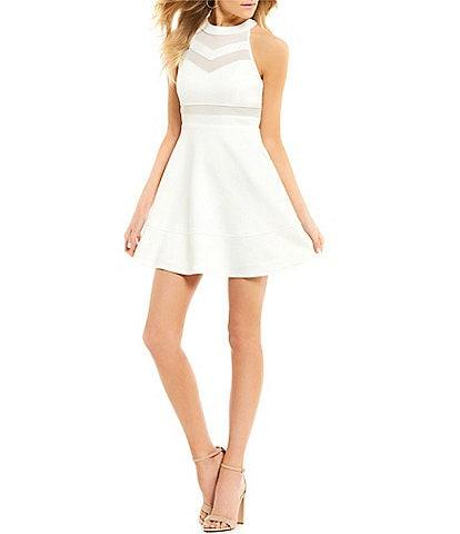 Honey and Rosie Sleeveless High-Neckline Illusion Skater Mini Dress