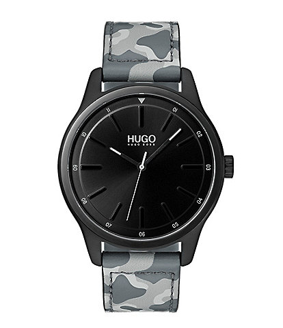 HUGO by Hugo Boss #Dare Camo Leather Strap Watch