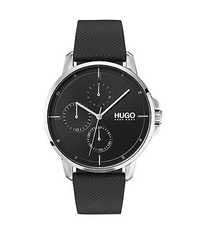 HUGO HUGO BOSS #Focus Black Leather Strap Multifunction Watch