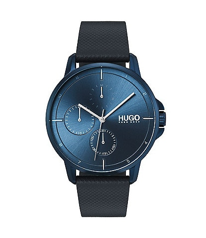 HUGO HUGO BOSS #Focus Blue IP Leather Strap Multifunction Watch