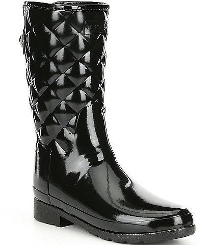 Hunter Refined Gloss Quilt Short Waterproof Boots