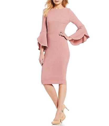 Ivanka Trump Bell Sleeve Midi Length Sheath Dress
