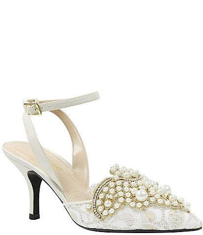 J. Renee Desdemona Floral Pearl Ornament Ankle Strap Pumps