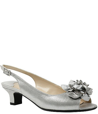 J. Renee Leonelle Embellished Bow Slingback Peep Toe Pumps