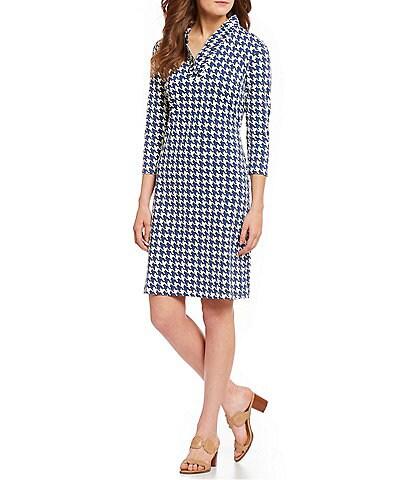 J.McLaughlin Durham 3/4 Sleeves Houndstooth Dress