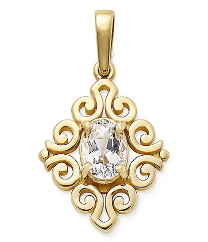 James Avery 14K Gold April Birthstone Scrolled Pendant