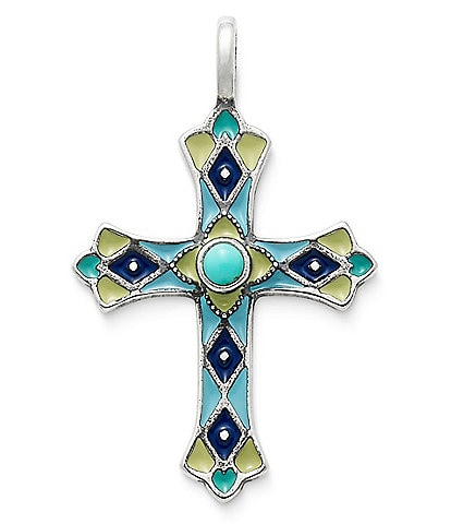 James Avery Enamel Byzantine Cross Pendant with Turquoise
